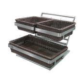 S/S DOUBLE TIERS BREAD BASKET